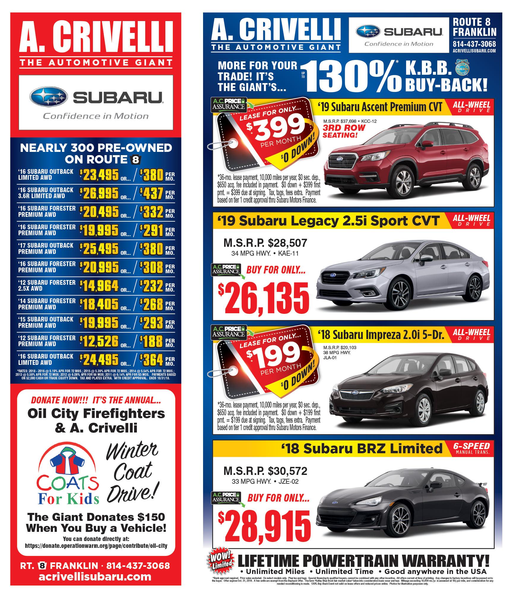 A Crivelli Subaru >> Sales Ad A Crivelli Subaru Subaru Deals Near Franklin Pa Erie