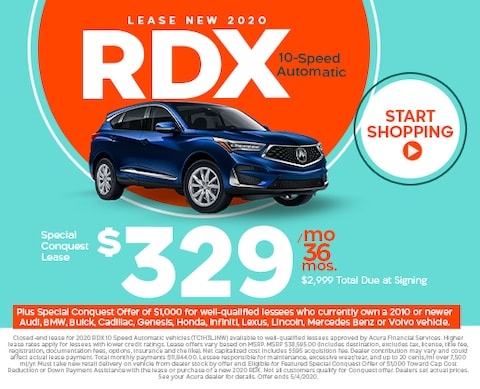 Lease new 2020 RDX - $329/mo for 36 mos w/ $2,999 total due at signing