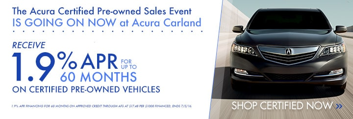 Acura Certified Pre Owned >> Certified Pre Owned Vehicle Specials Acura Carland