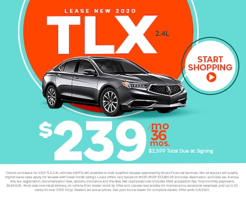 Lease new 2020 TLX 2.4L - $239/mo for 36 mos w/ $2,599 total due at signing