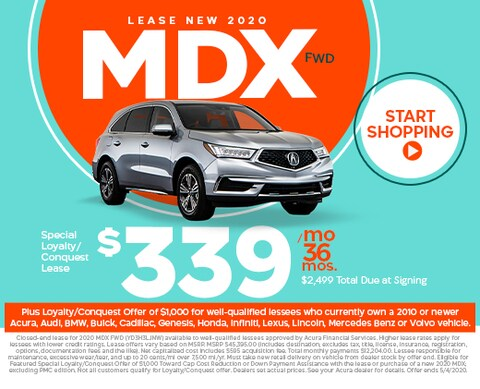 Lease new 2020 MDX FWD - $339/mo for 36 mos w/ $2,499 total due at signing