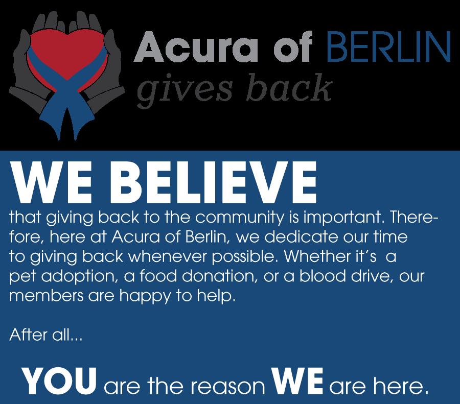Acura Of Berlin Community Involvement & Sponsorship