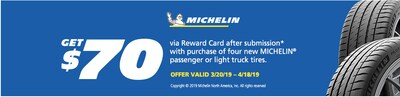 $70 visa card mail in rebate for michelin tires
