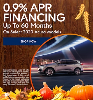 0.9% APR Up To 60 Months On Select 2020 Acura Models