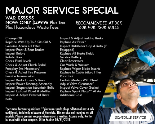 Acura Service Specials And Offers Acura Of Honolulu - Acura mdx b16 service cost