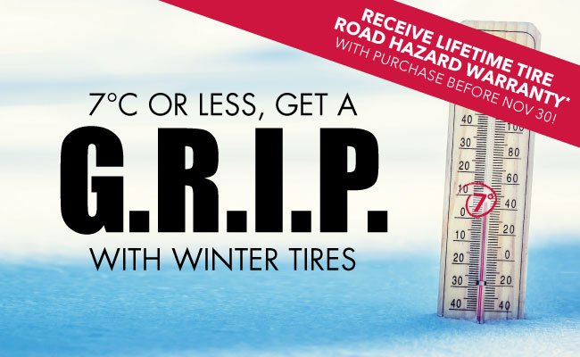 7 degrees celsius or less, get a grip with winter tires.