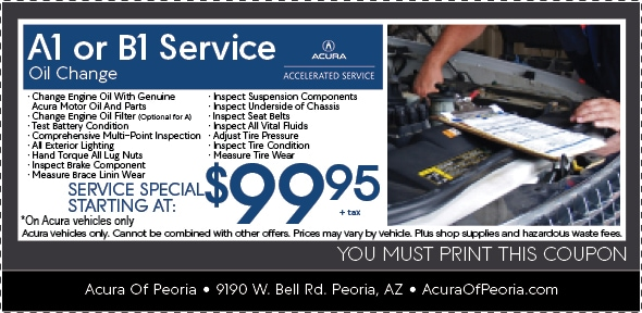 A B Acura Service Coupon Peoria AZ - Acura dealer service coupons
