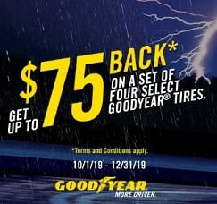 Up to $75 Rebate on Select Goodyear Tires
