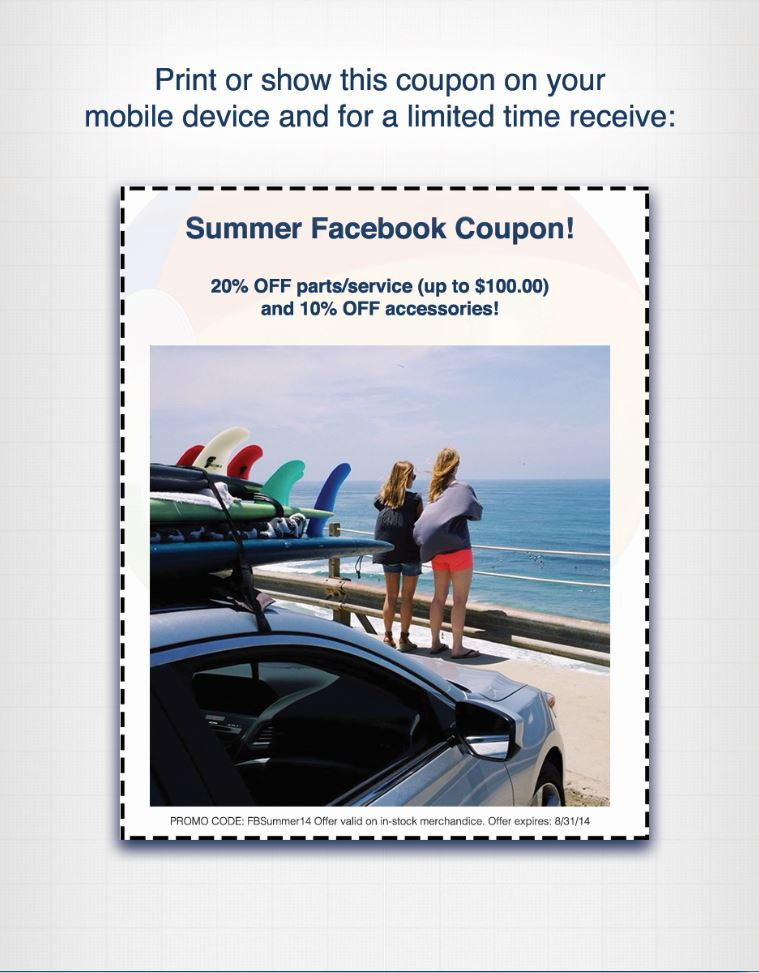 Acura Serramonte Service >> Summer Facebook Coupon Acura Of Serramonte
