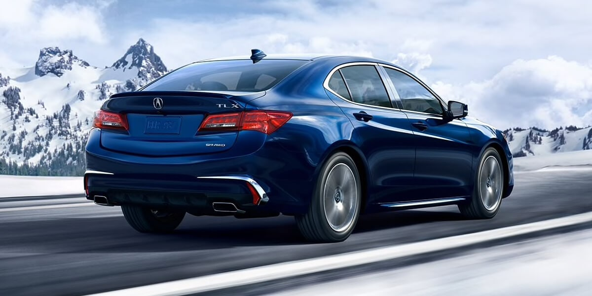 Rear view of 2019 Acura TLX in blue
