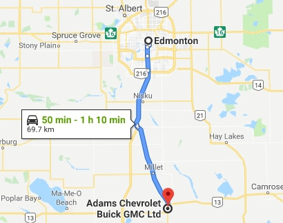 directions to adams chevrolet buick gmc from edmonton, ab