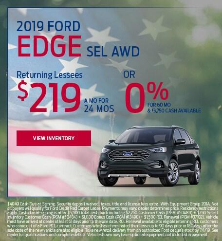 New 2019 Ford Edge SEL AWD 5/9/2019