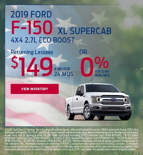 New 2019 Ford F-150 XL Supercab 4X4 2.7L Eco Boost 5/9/2019