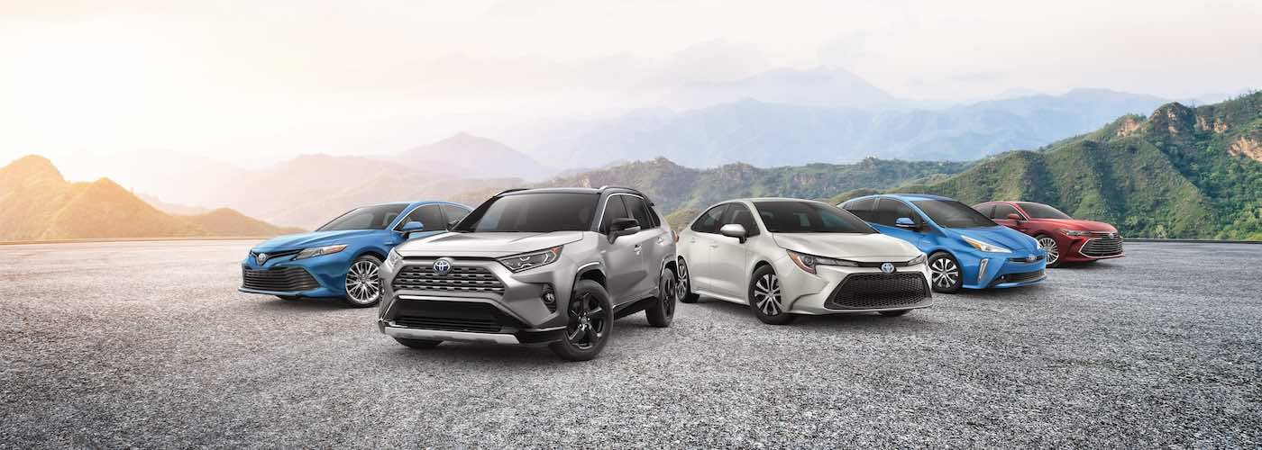 Lineup of Toyota sedans and SUVs