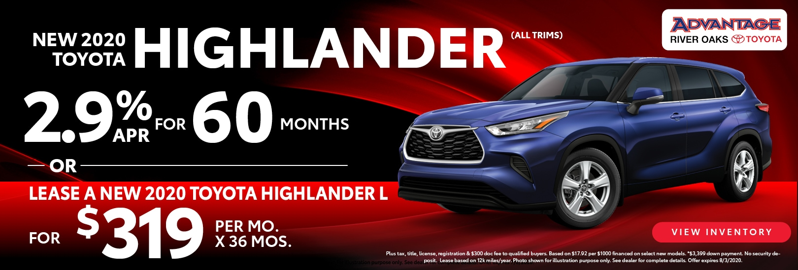 2020 Toyota Highlander Lease Offer | Advantage Toyota of River Oaks