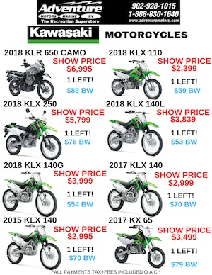 2018 KAWASAKI KLX250S NEW $76 Weekly Tax In! O.A.C.