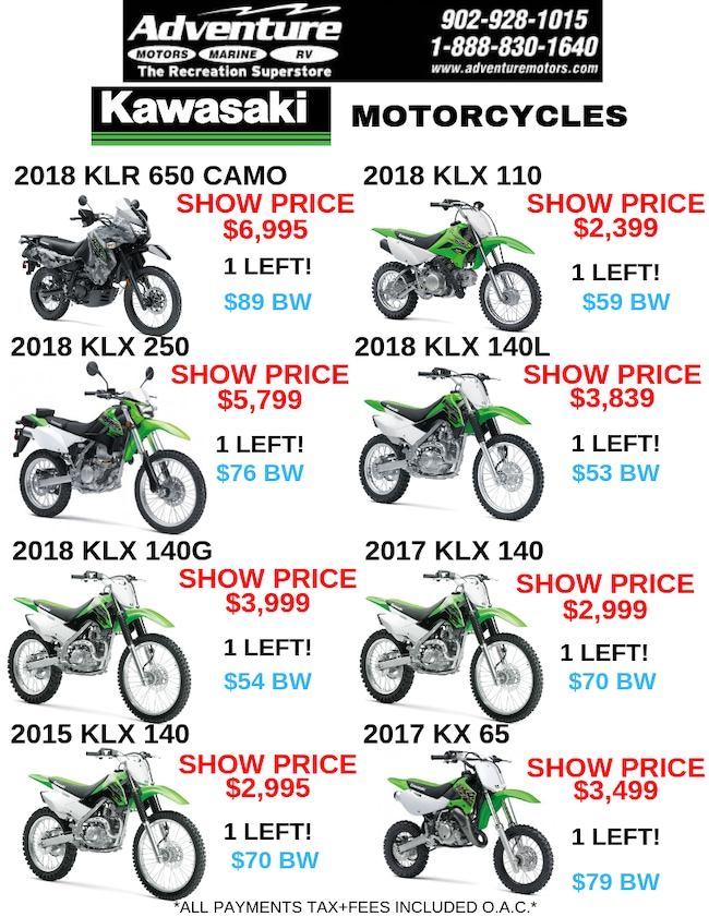 2017 KAWASAKI KLX140 NEW $72.00 BI-WEEKLY TAX IN! O.A.C.