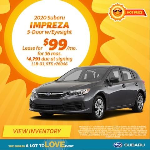 August 2020 Subaru Impreza 5-Door w/Eyesight Lease Offer