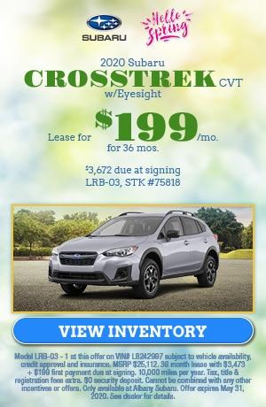 May 2020 Subaru Crosstrek CVT w/Eyesight  Lease Offer