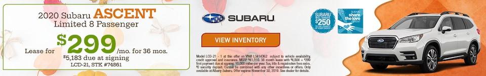 November 2020 Subaru Ascent Limited 8 Passenger Lease Offer