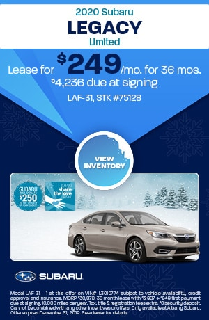 December 2020 Subaru Legacy Limited Lease Offer