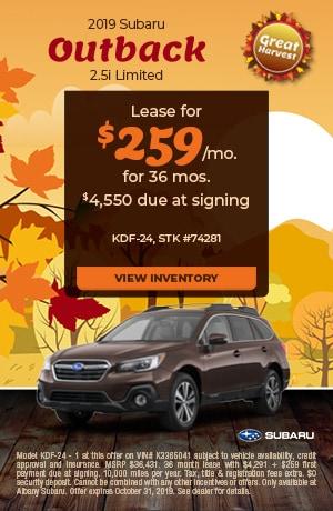 October 2019 Subaru Outback 2.5i Limited Offer