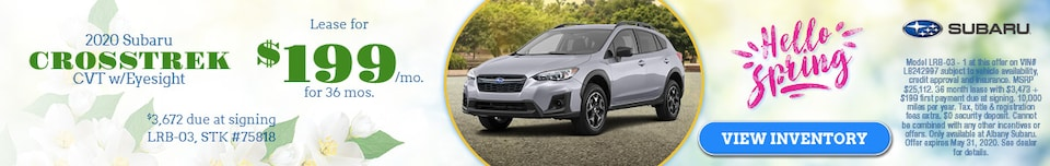 May 2020 Subaru Crosstrek CVT w/Eyesight  Lease Offer
