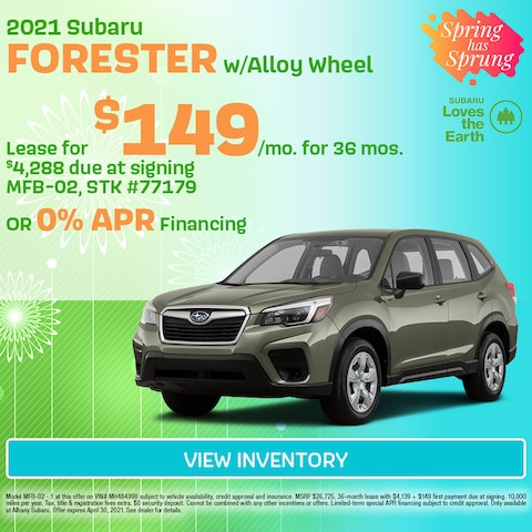 April 2021 Subaru Forester w/Alloy Wheel offer