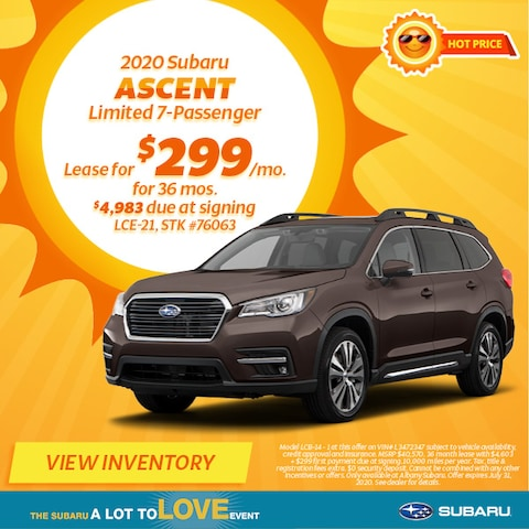 August 2020 Subaru Ascent Limited 7-Passenger Lease Offer