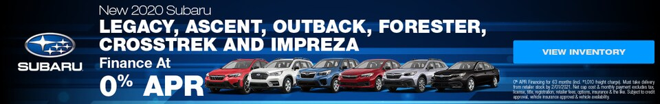 New 2020 Subaru Legacy, Ascent, Outback, Forester, Crosstrek and Impreza