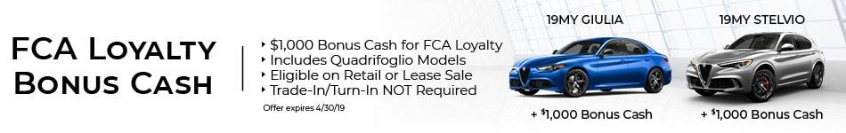 FCA Loyalty Bonus Cash