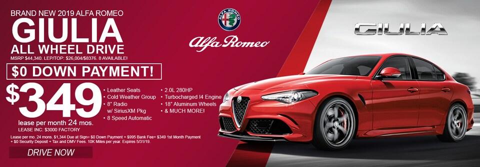 2019 ALFA Romeo Giulia Lease deals and sale May 2019