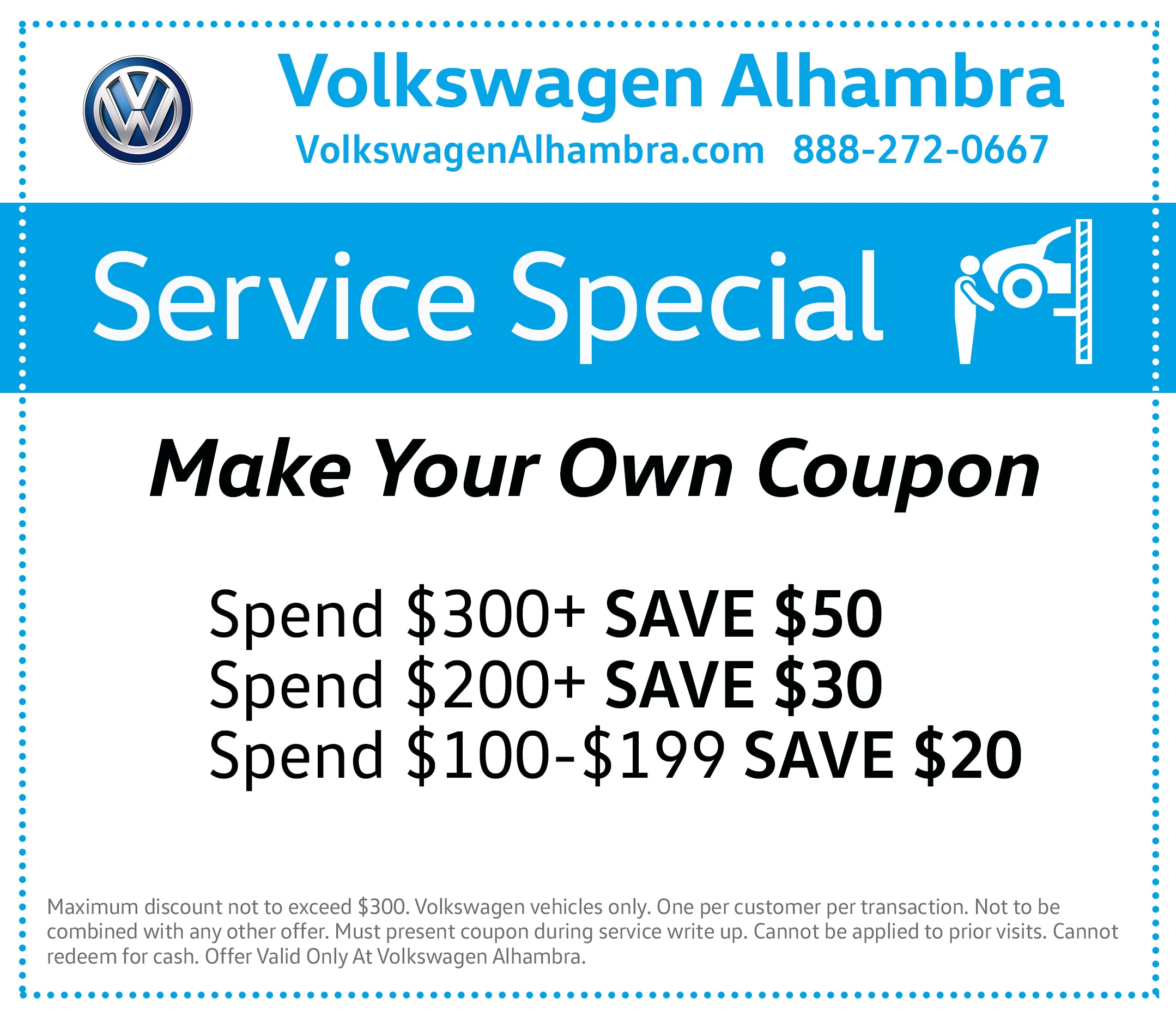 Make your Own Service Coupon at VW Alhambra!