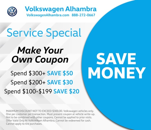 Volkswagen Alhambra service special offer. Make your own coupon and save money