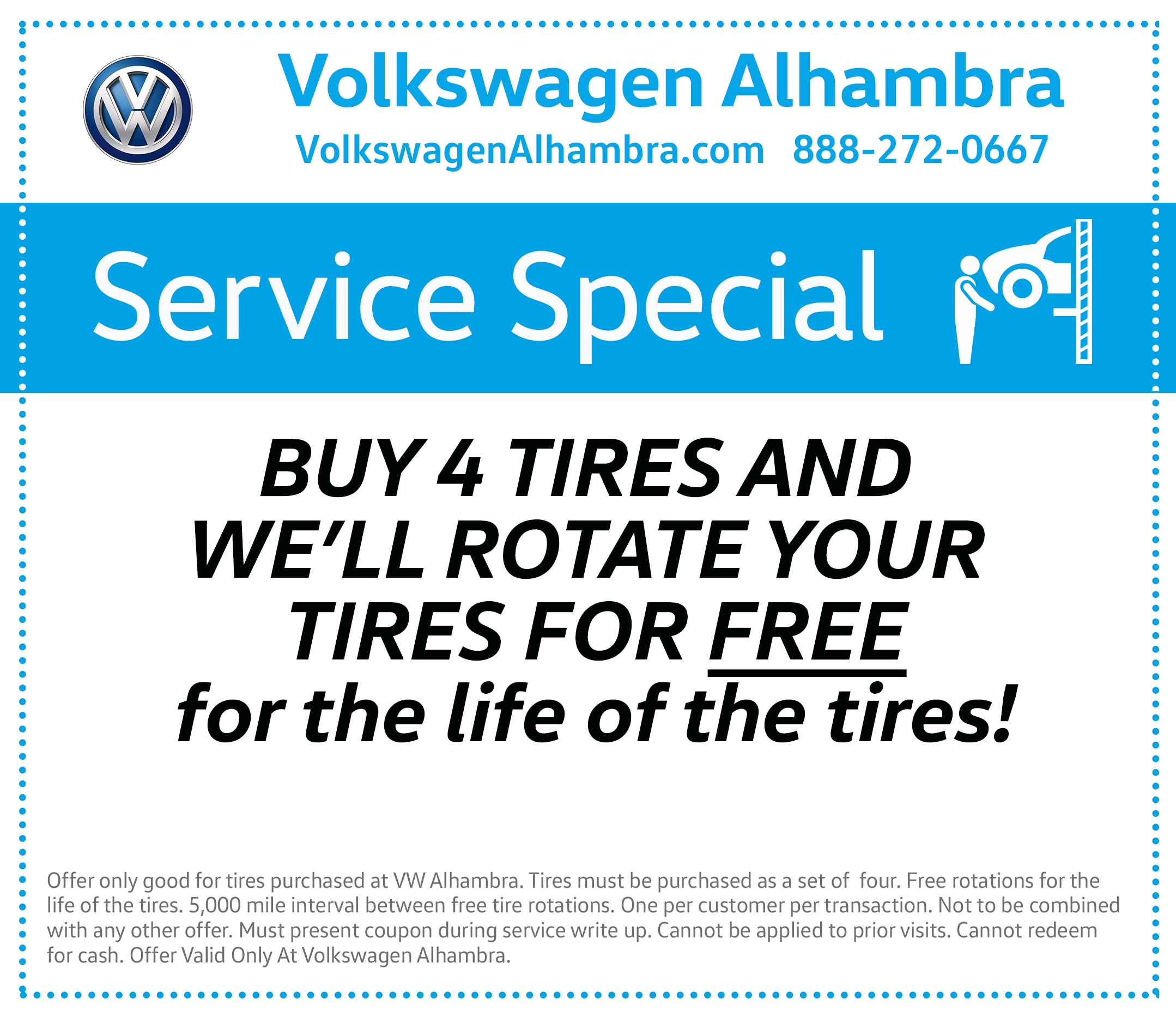 Buy 4 tires and Volkswagen Alhambra will rotate your tires for FREE for the life of the tires