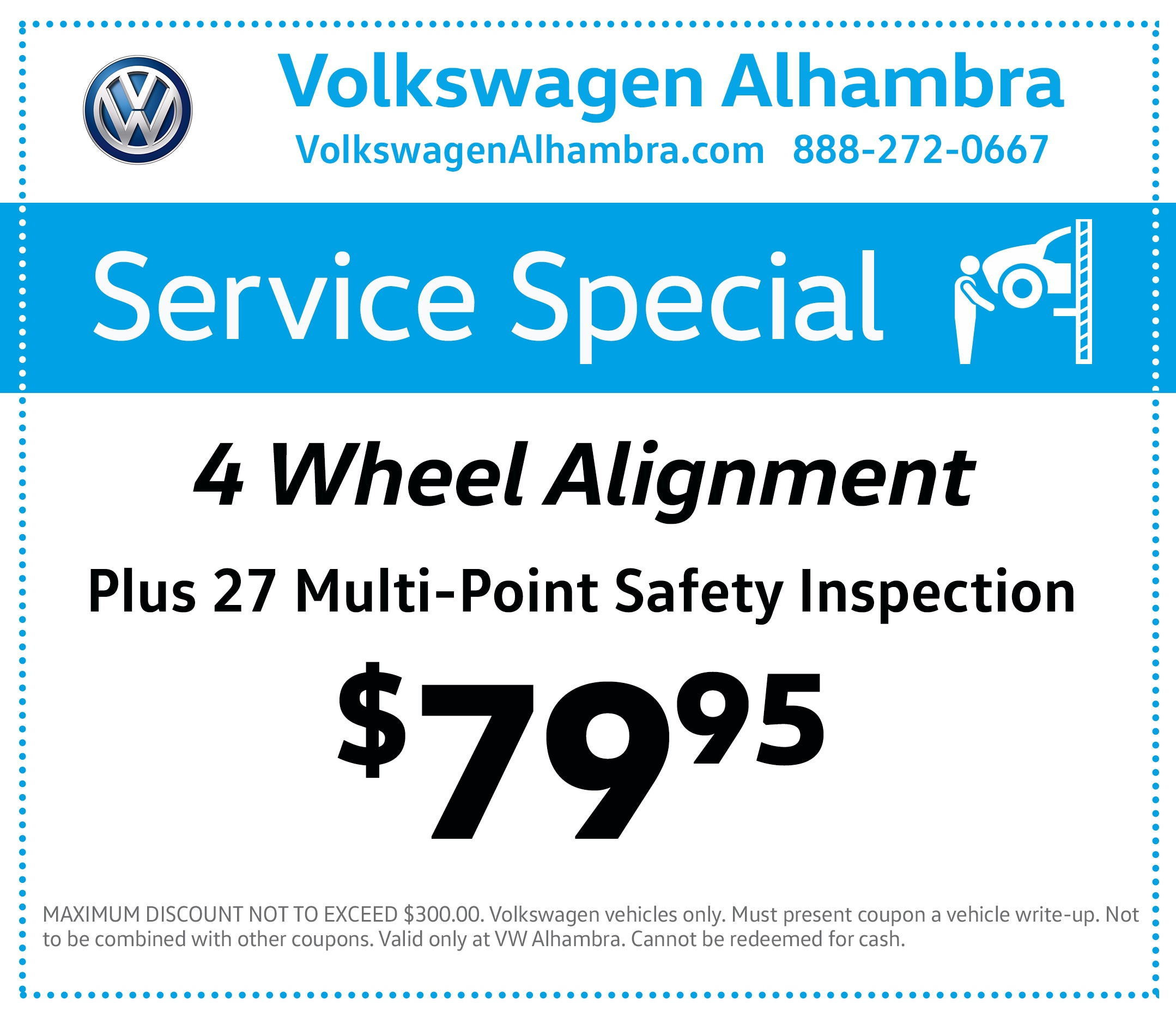 4-wheel Alignment special at VW Alhambra