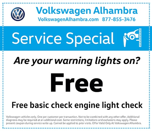 Free basic engine light check at Volkswagen Alhambra