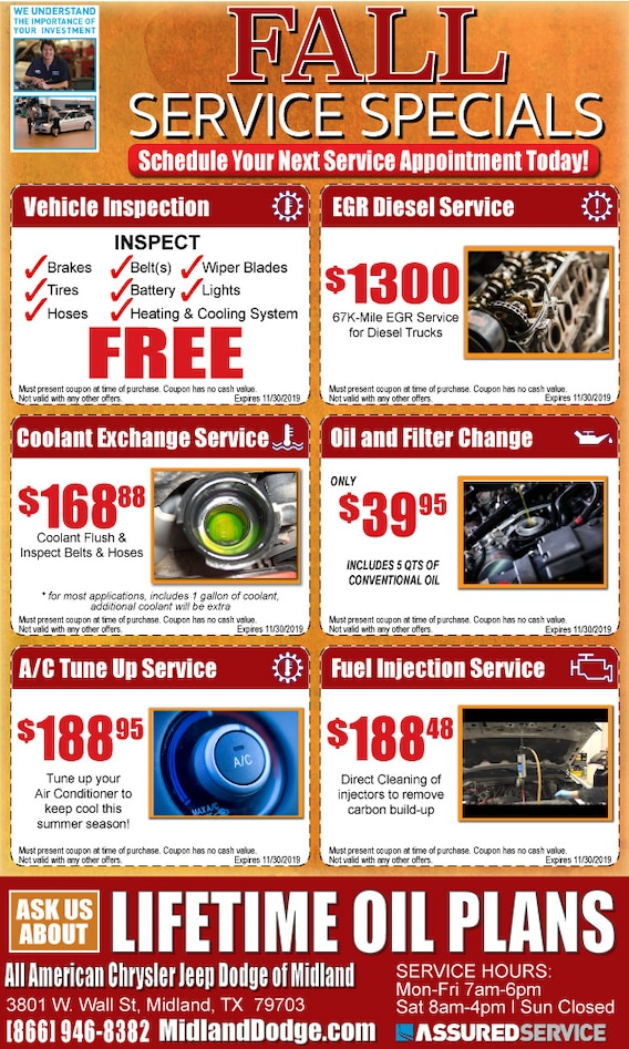 All American Dodge Midland >> Auto Service Specials In Midland Tx All American Chrysler