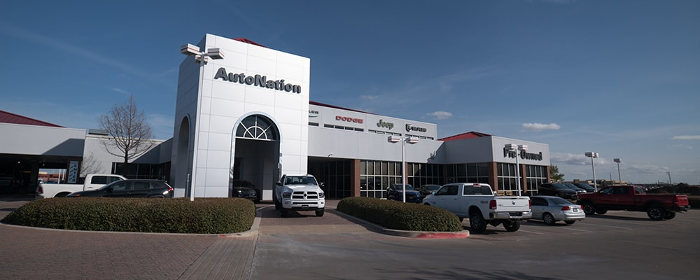Exterior view of Autonation Chrysler Dodge Jeep Ram North Fort Worth during the day