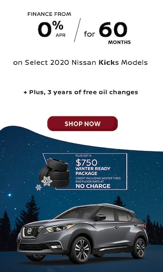 Finance from 0.0% APR for 60 Months on Select 2020 Nissan Kicks Models.
