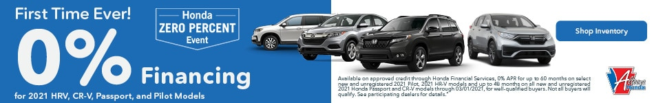 2021 Honda HR-V, CR-V, Passport and Pilot - 0% Financing