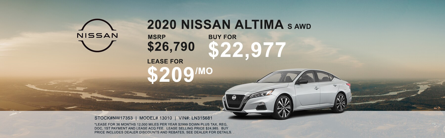 2020 Nissan Altima S AWD Lease for $209 per month