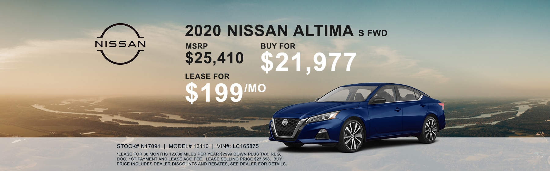 2020 Nissan Altima S FWD Lease for $199 per month