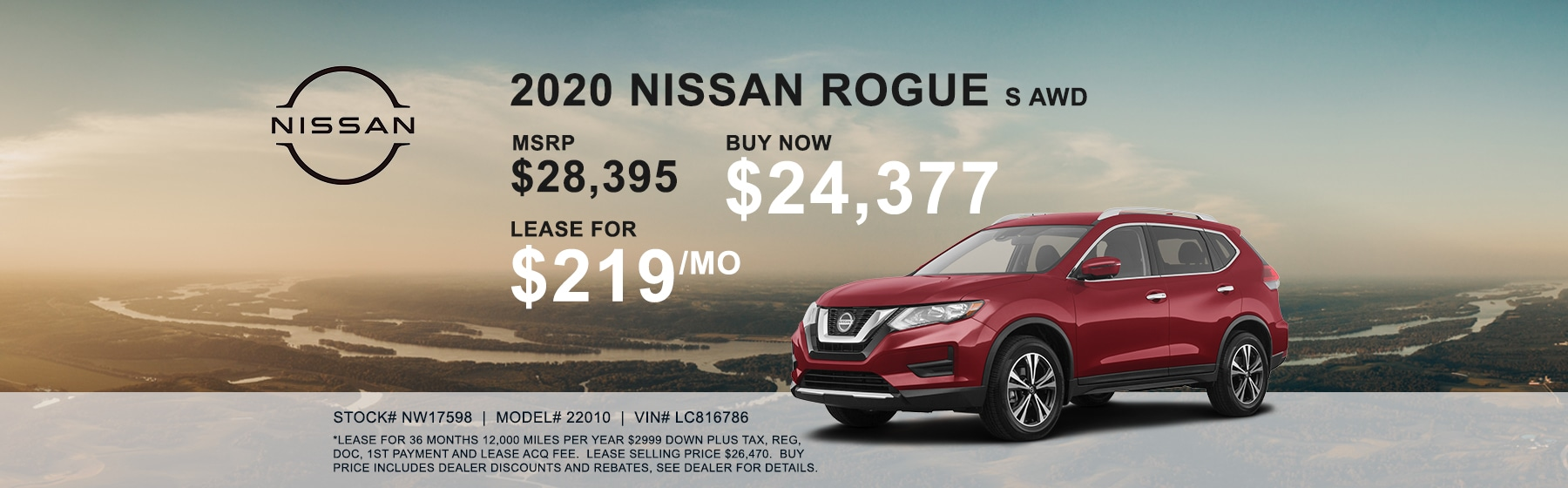 2020 Nissan Rogue S Lease for $219 per month