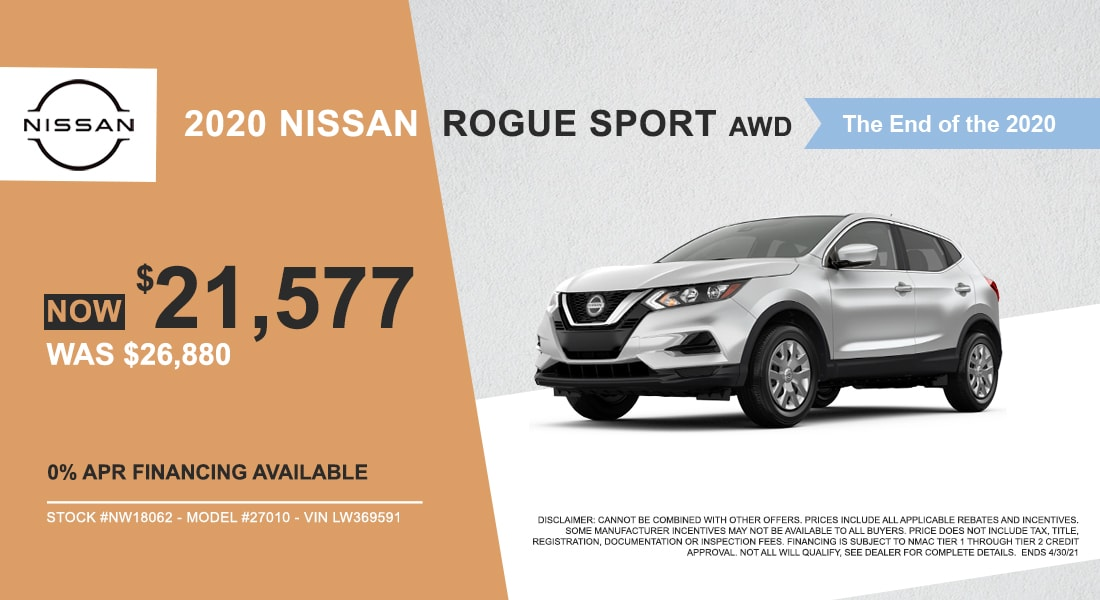 Buy a 2020 Nissan Rogue Sport for $21,577