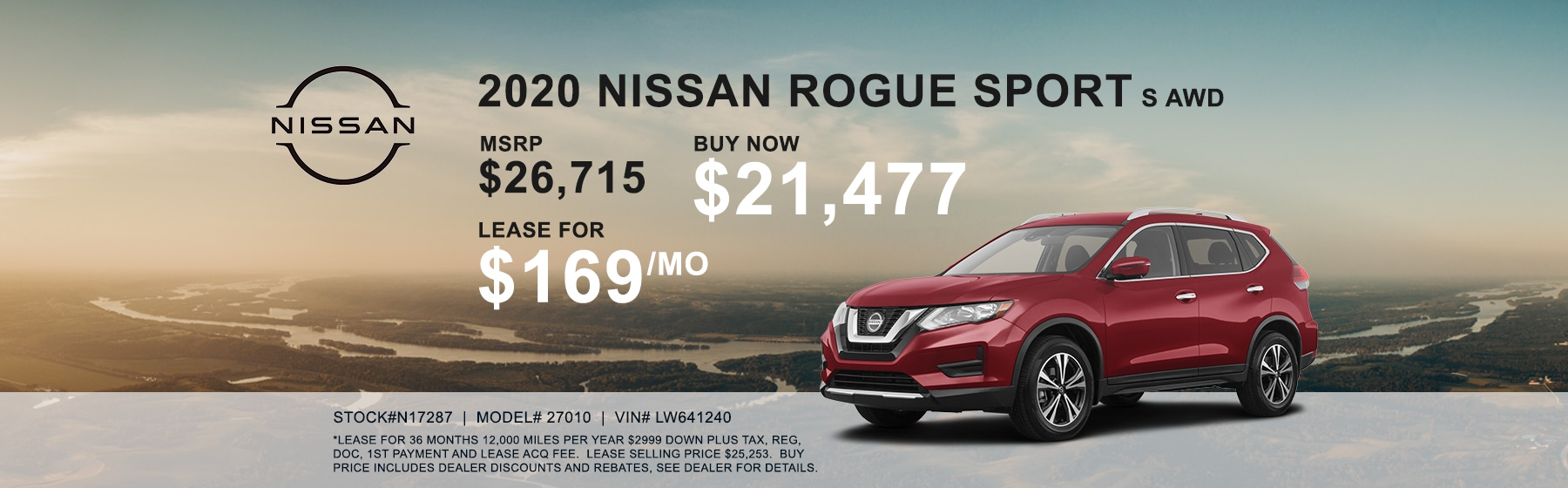 2020 Nissan Rogue Sport AWD Lease for $169 per month