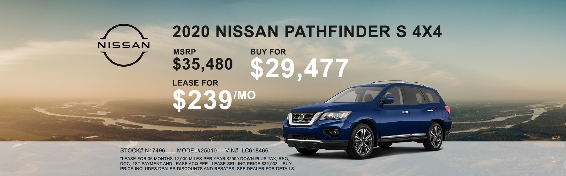 2020 Nissan Pathfinder S 4x4 lease for $239 per month