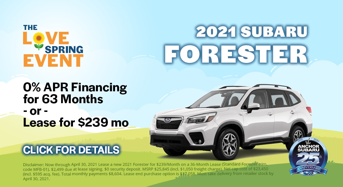 Subaru Forester - 0% APR Financing Available for 63 Months. Or Lease for $239/month.