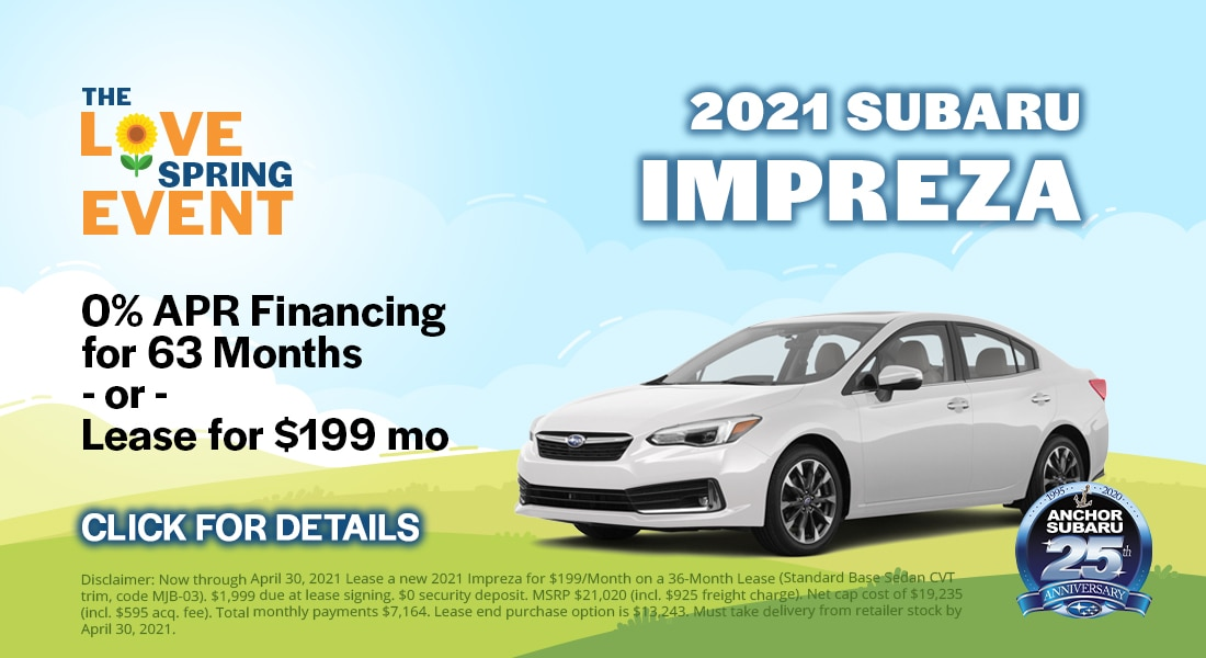 Subaru Impreza - 0% APR Financing Available for 63 Months or Lease for $199/month
