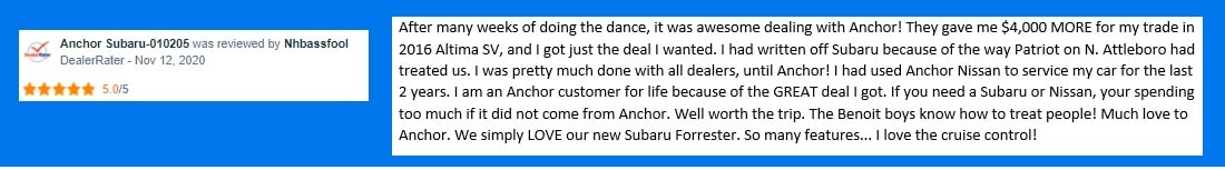 a 5 star DealerRater review about anchor subaru from 11/12/2020